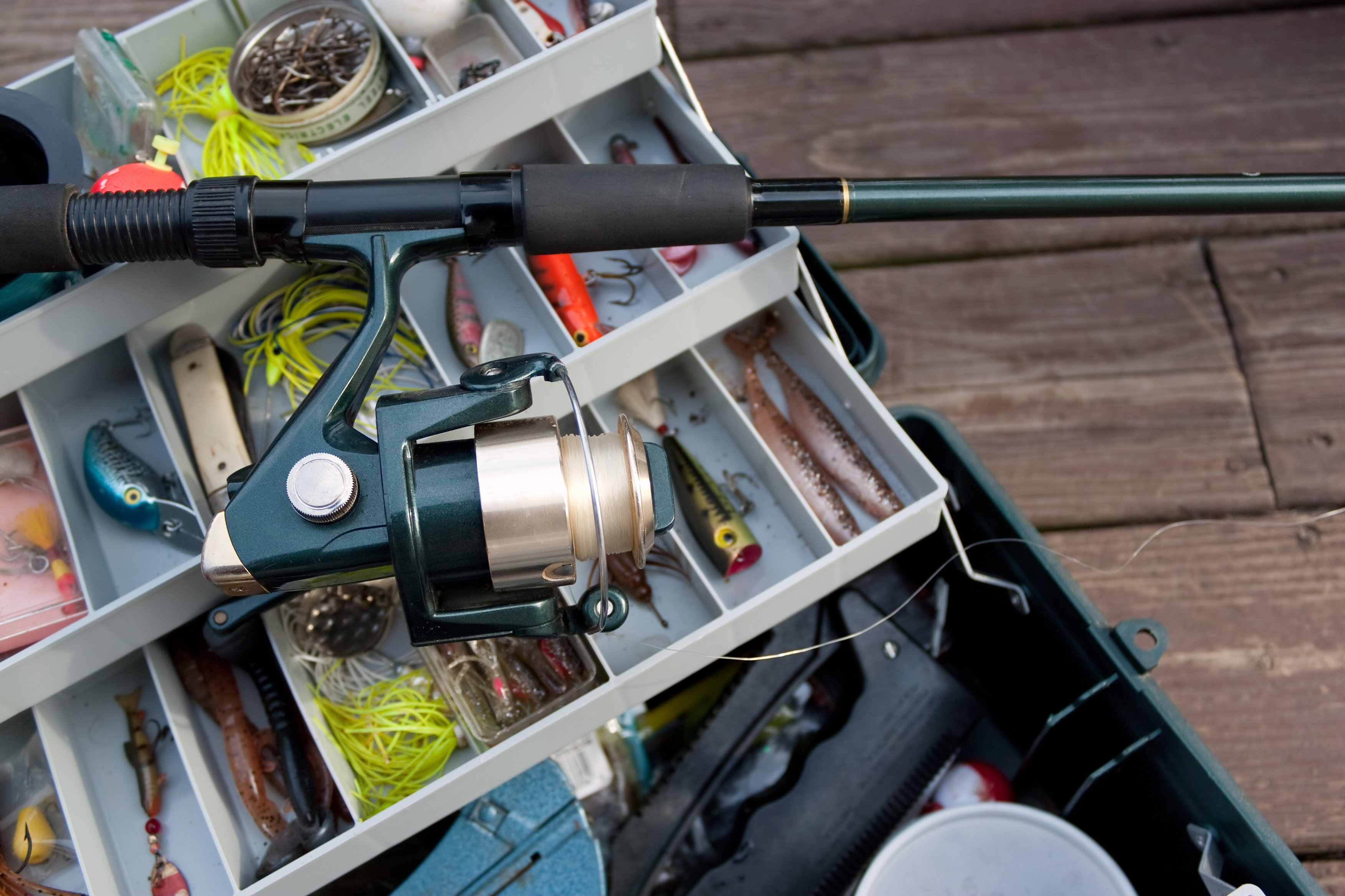 tackle box full of fishing gear