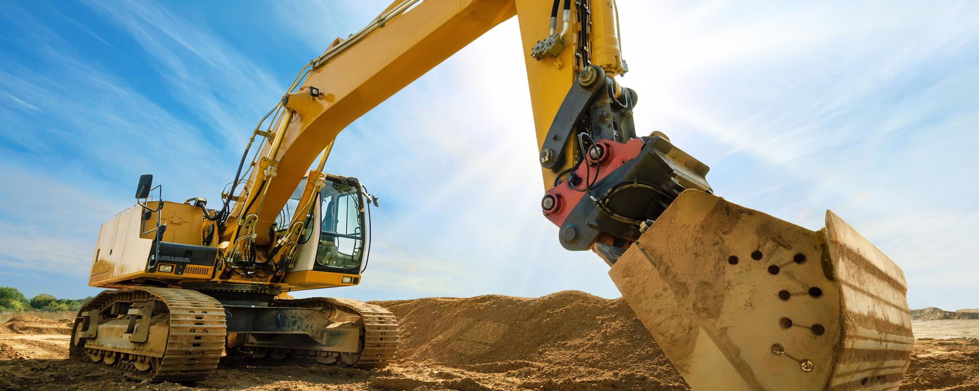 Heavy machine digging the ground