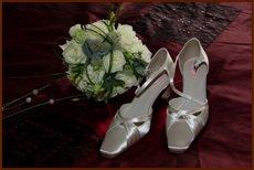 wedding flowers and slipper