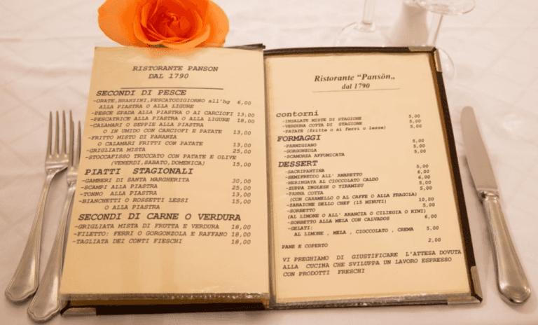menu secondi piatti