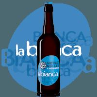 bottiglia di birra con marchio blu