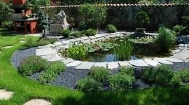 progettazione aree verdi, stagnetti, passaggi in pietra