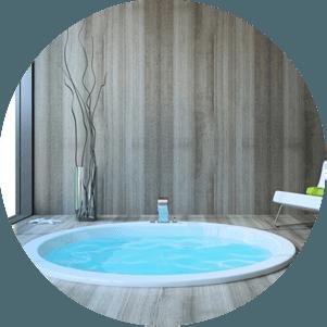 An indoor hot tub