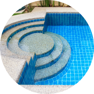 A swimming pool with steps