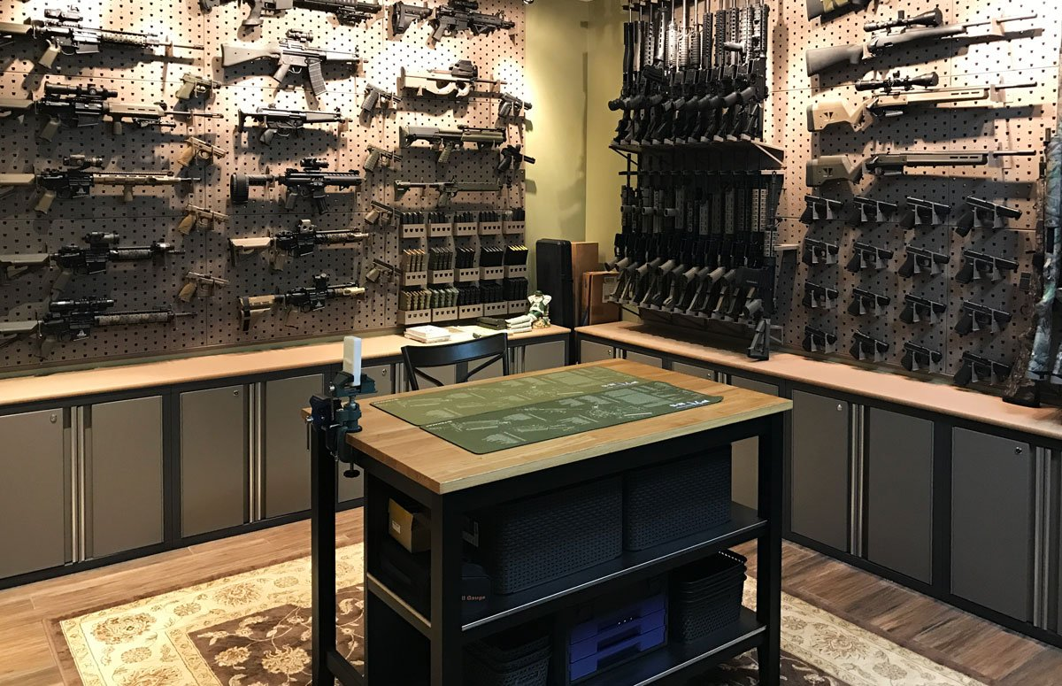 Custom Gun Room Design With Modular Weapons And Gear