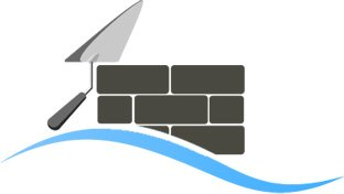 Icon with a brick wall and trowel