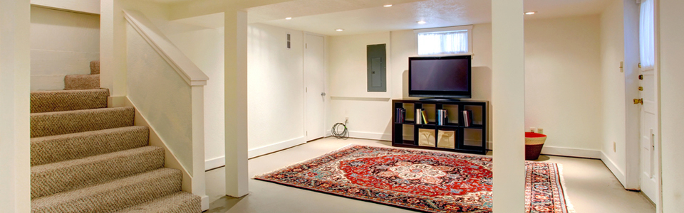White renovated basement