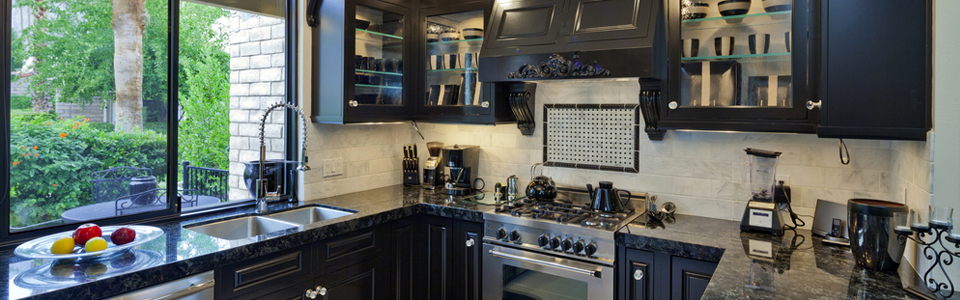 Black marble renovated kitchen