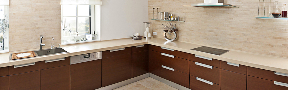 Dark and light brown kitchen with ceramic tiles