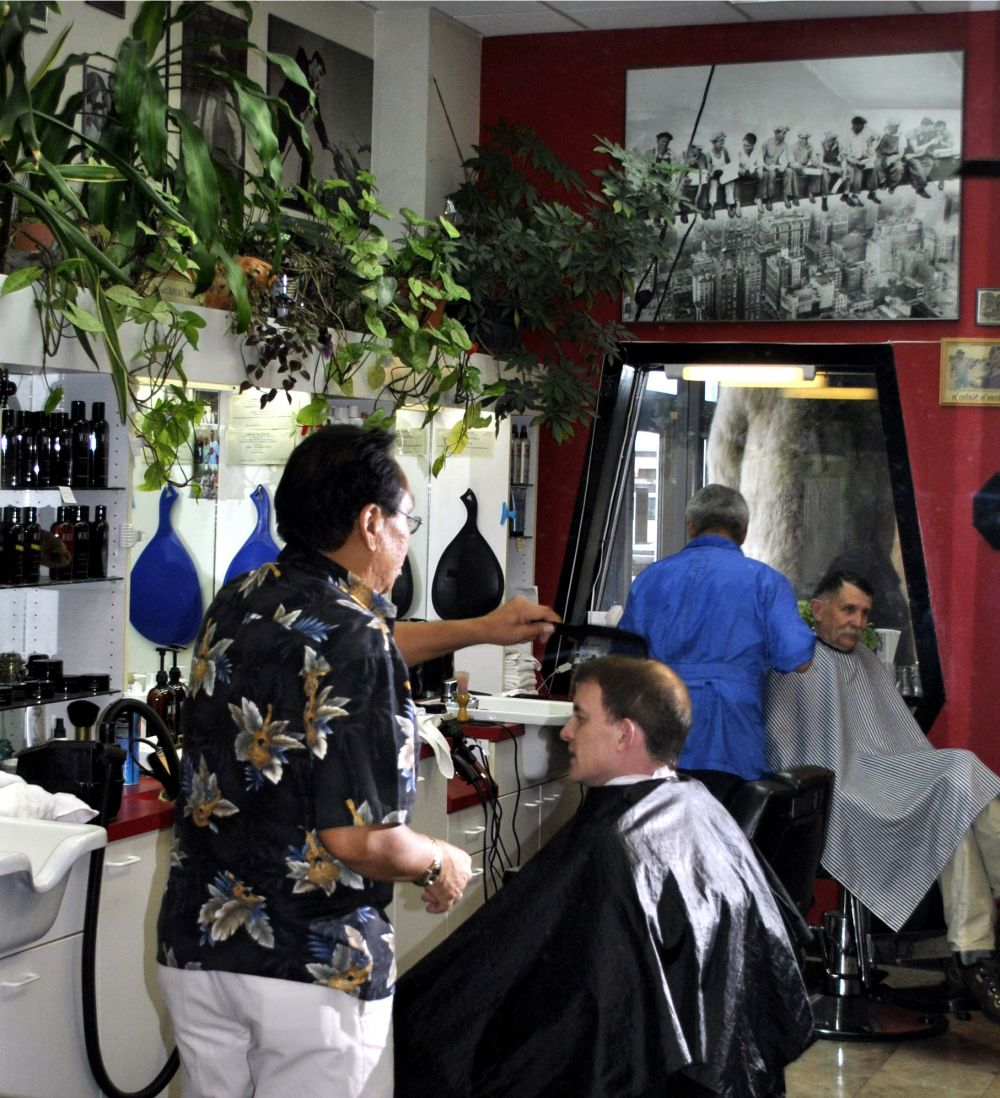 Our customers getting their hair cut by our barbers in Anchorage, AK
