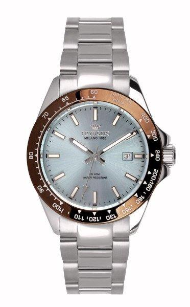 un orologio d'acciaio e di color rame della marca Pryngeps Milano