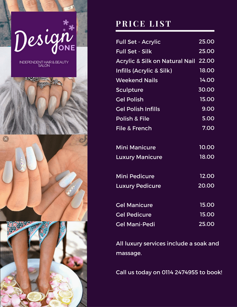 Nail Art, Manicure and Pedicure Price list for Design One in Halfway Sheffield near Crystal Peaks