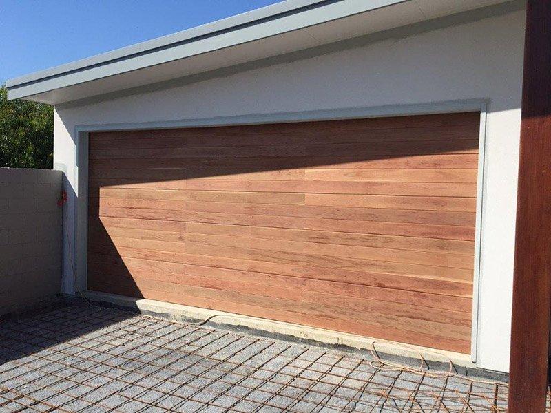 View of installed garage doors