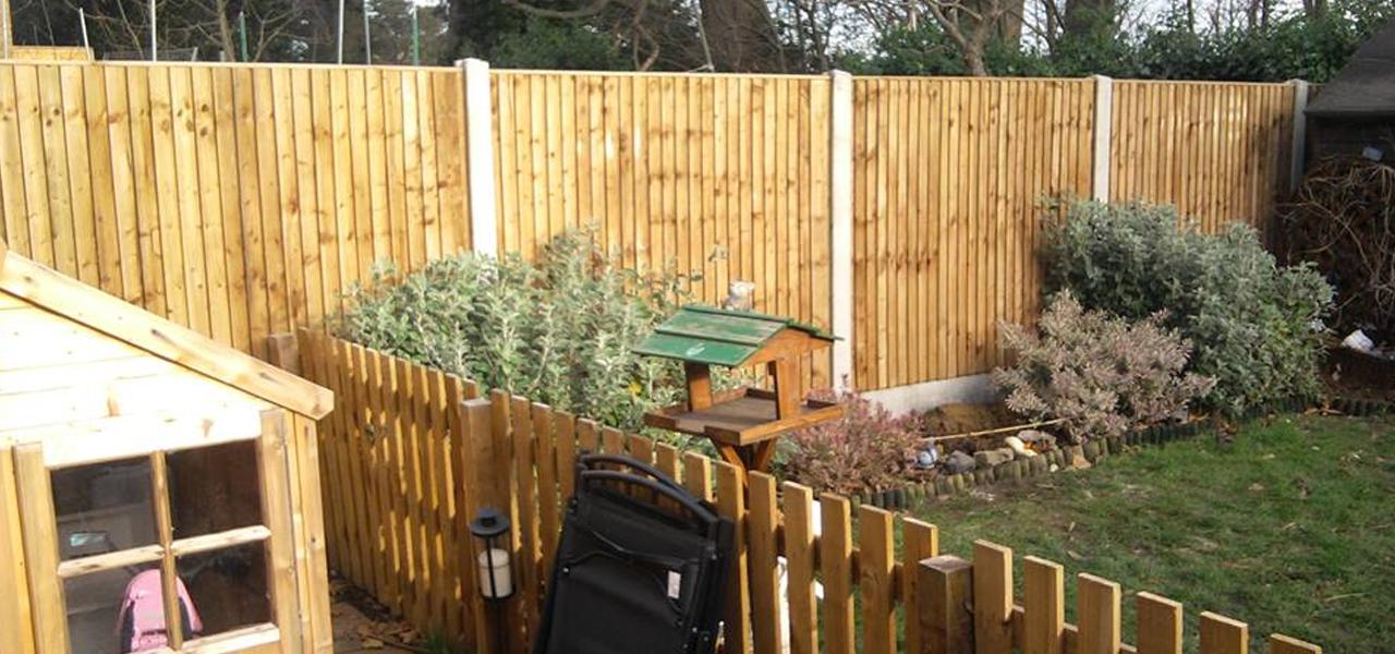 wooden fencing in the garden