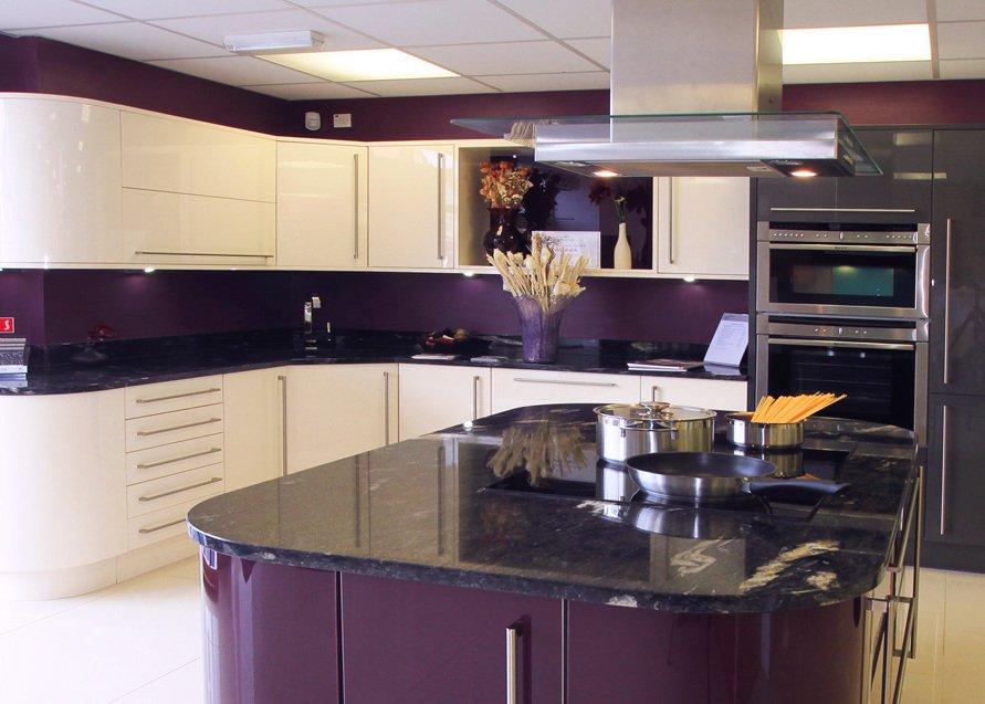 Purple showroom kitchen