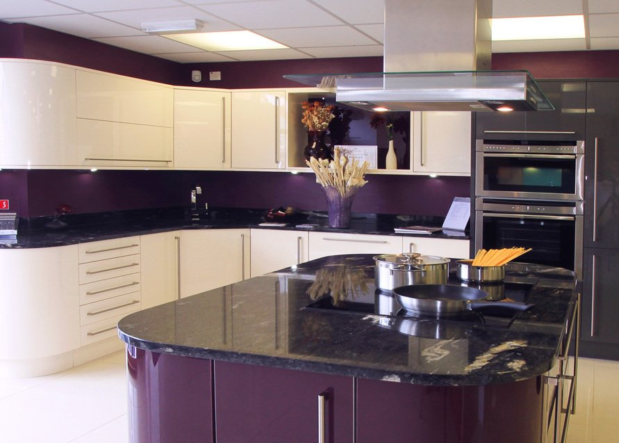 Purple showroom kitchen