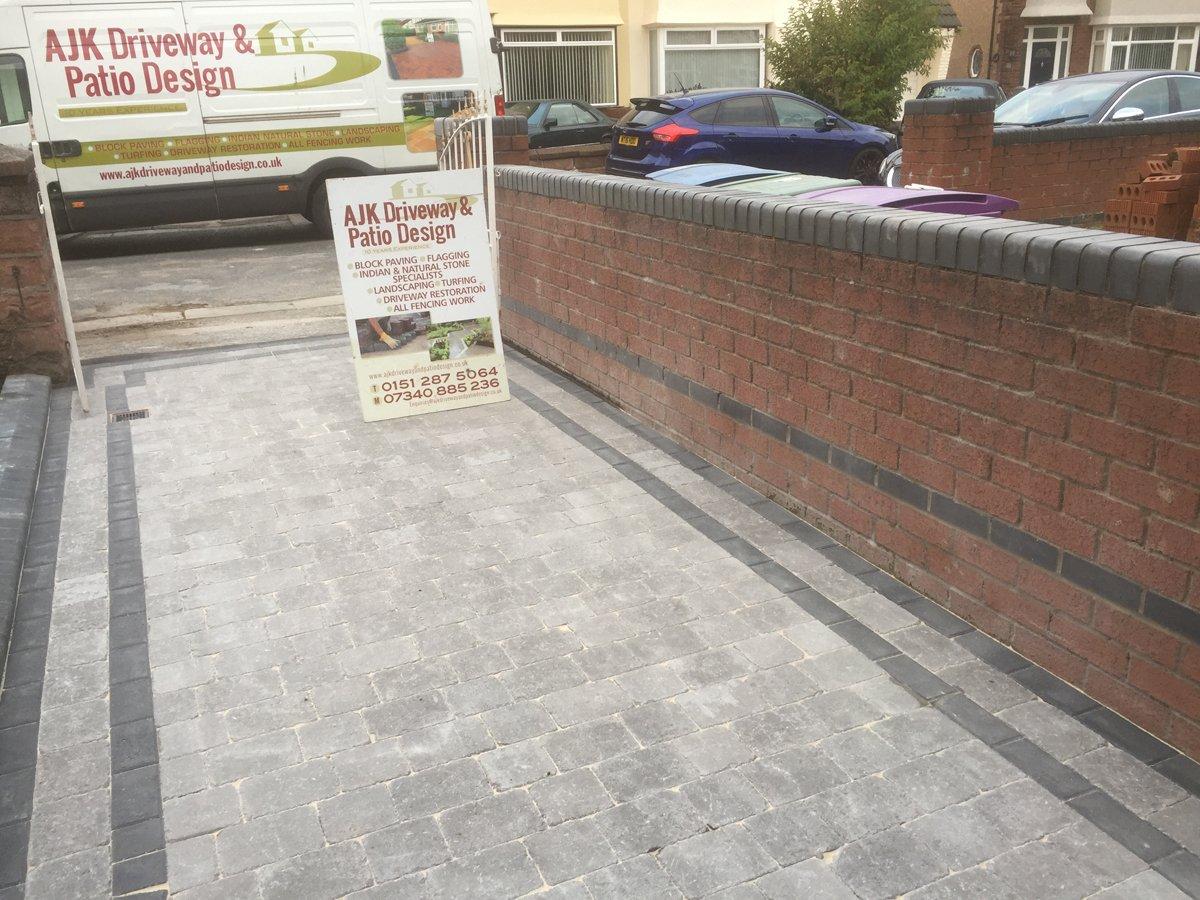 Blacked paved patio