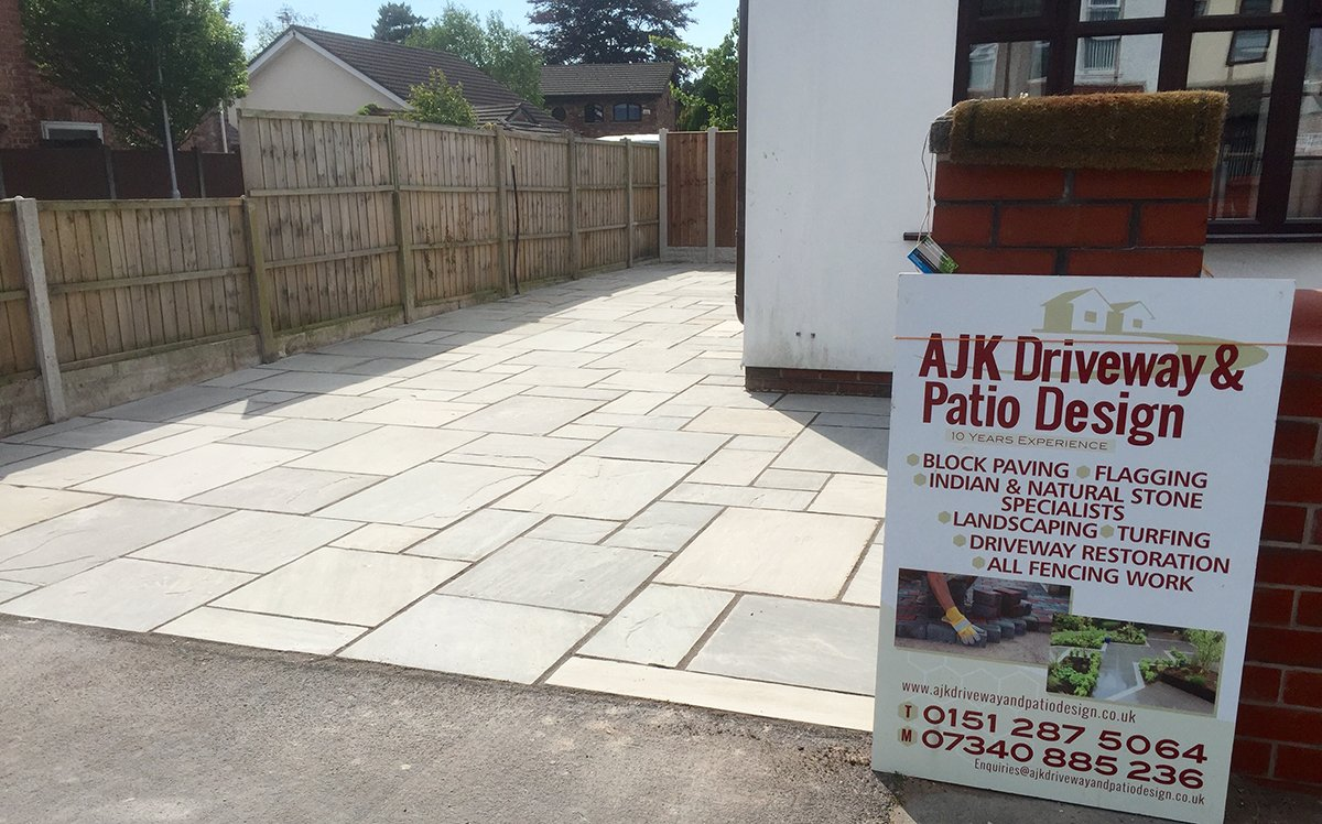 Natural stone patio and sign