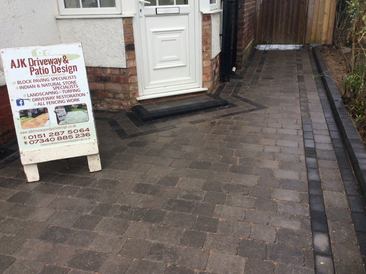 Block paving and sign