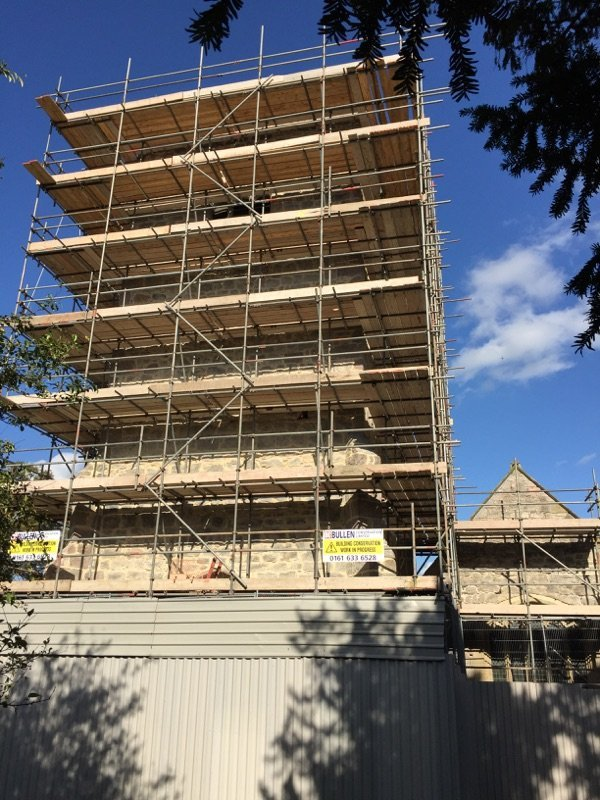 high rise building scaffolding