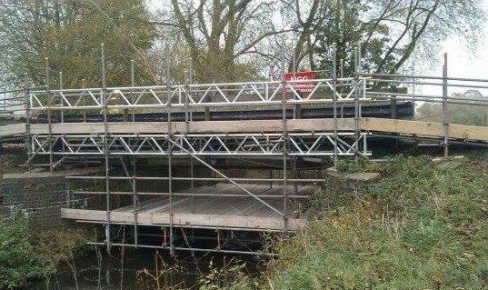 scaffolding for a bridge