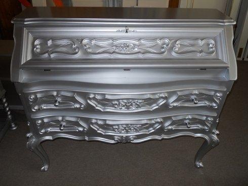 ribaltina in stile barocco riverniciata argento opaco
