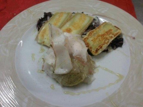 Trevisana alla piastra con formagella della Val di Scalve, lardo e miele