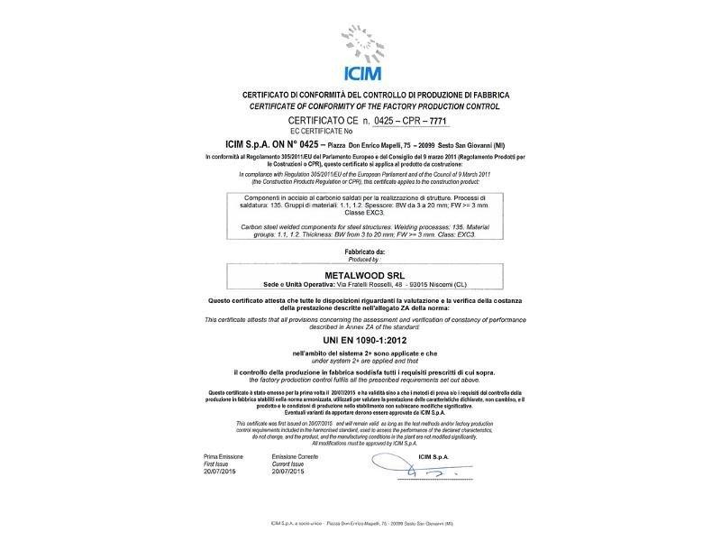 certificato controllo produzione