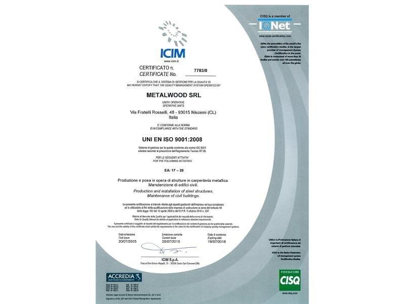 certificato Uni En Iso