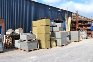 building supplies outside of shed