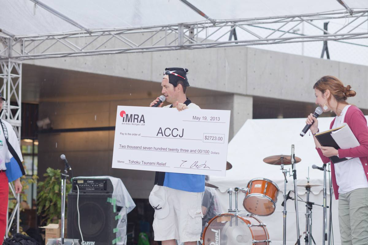 Donation cheque at Chubu Walkathon