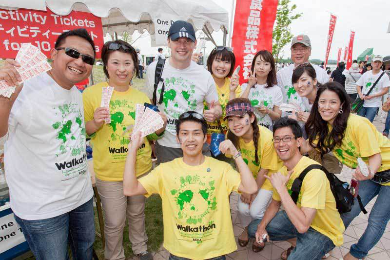 Volunteers with T-Shirts and Tickets at Chubu Walkathon