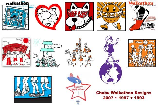 Chubu Walkathon T-Shirt Logos 1993 - 2007