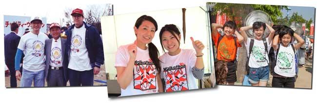 Walkathon attendees wearing t-shirts