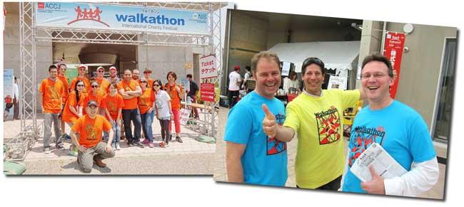Chubu Walkathon volunteers sporting colorful T-shirts