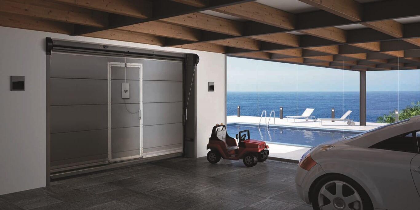 Veranda di garage con automobile giocattolo per bambini