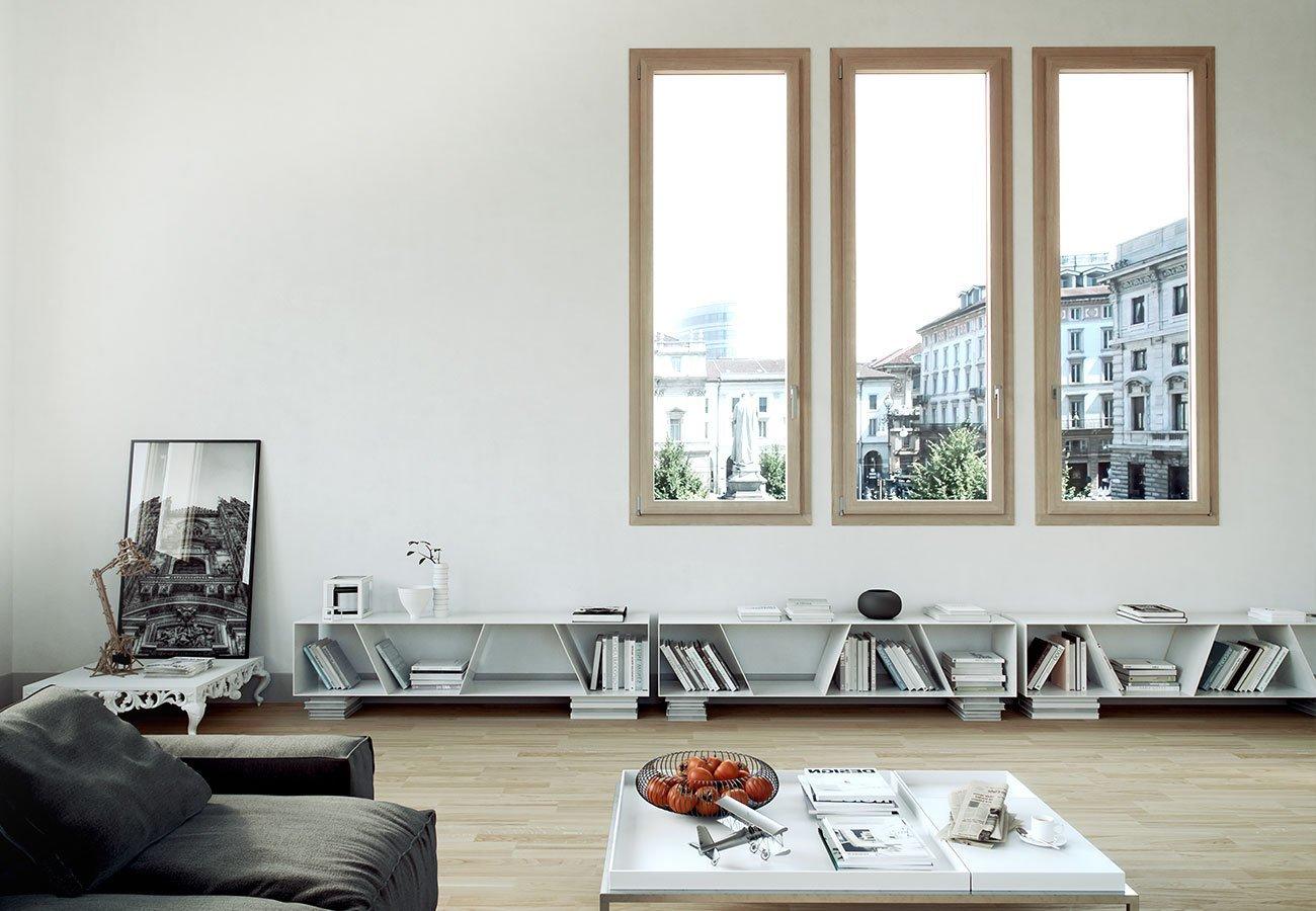 esempio di finestre per interni con infissi in legno-alluminio