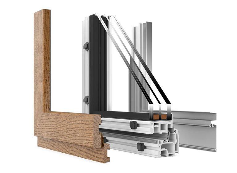campioni di finestre in legno-alluminio