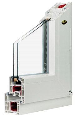 campione di infisso in PVC per isolamento termico e acustico