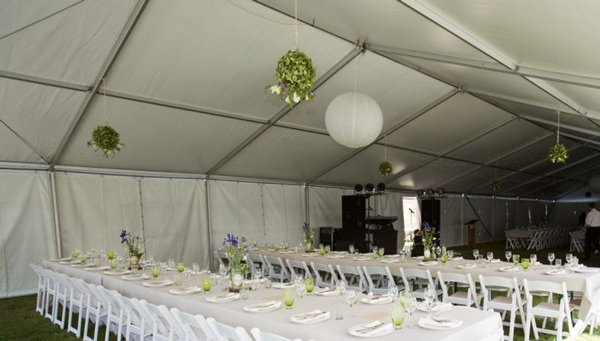 tent decorations hanging over long table