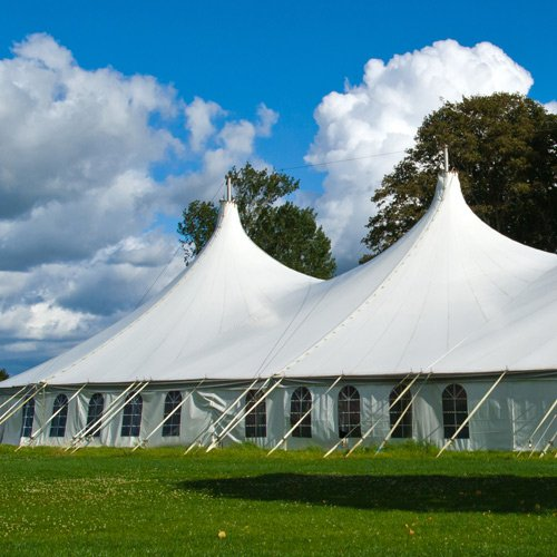 large white tents