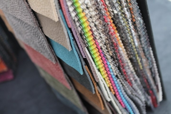 Textile samples in various colours