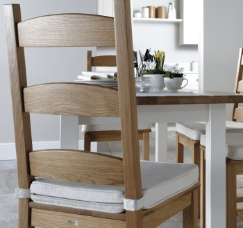 Savernake natural oak chair with painted chalk Kennet table with removable natural seat pad