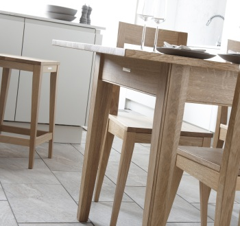 Kielder natural oak chair and stool with Spey natural oak table
