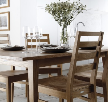 Burnham natural oak chairs with Kielder natural oak table