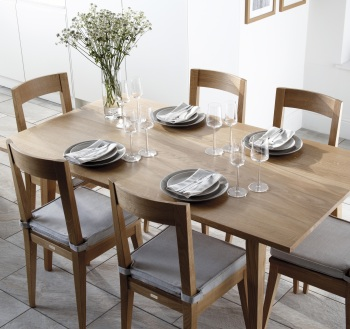 Kielder natural oak chair and table with removable natural seat pad