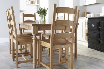 Savernake natural oak chair with Helmsdale natural oak table