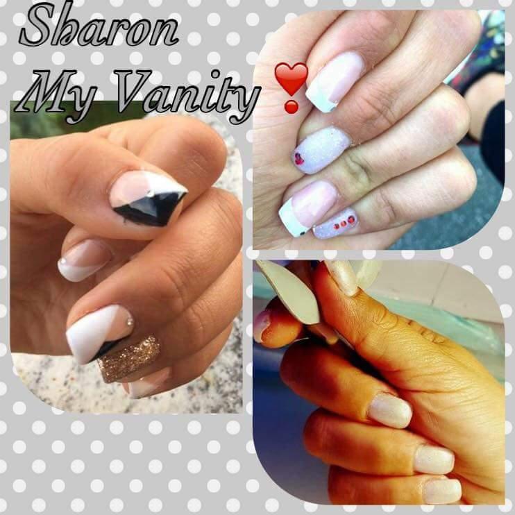 tre immagini di unghie rifatte ce la scritta Sharon My Vanity