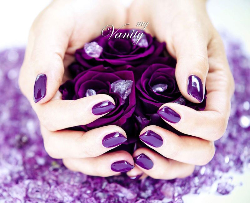 due mani con dello smalto che tengono delle rose viola