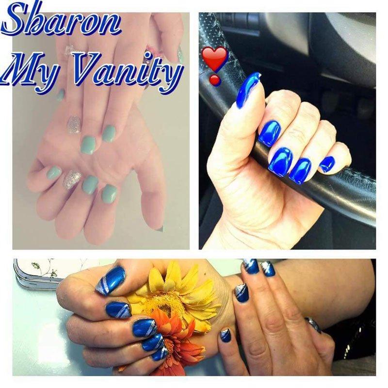 tre immagini di unghie azzurre e blu con scritto sharon My Vanity